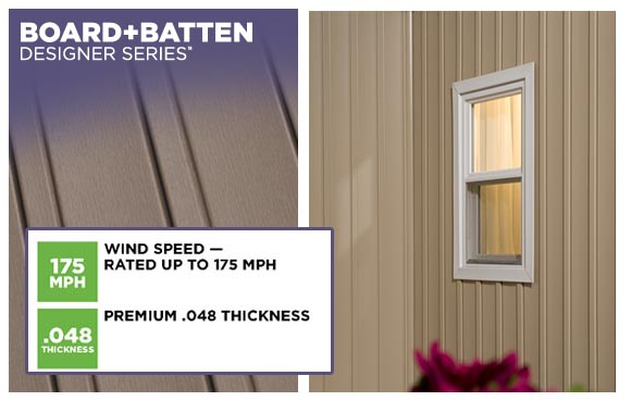 Board and Batten Vinyl SIding.